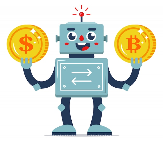 Обмен виртуальной валюты на реальные деньги. автоматизация интернет-сервисов. робот-обменник. плоский характер векторные иллюстрации. золотые монеты Premium векторы