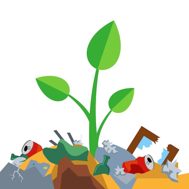 芽はゴミの山で成長します。自然の汚染。フラットのベクトル図。 Premiumベクター