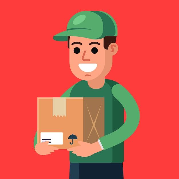 彼の手で小包と宅配便。貨物の配達。フラットな文字ベクトルイラスト。 Premiumベクター