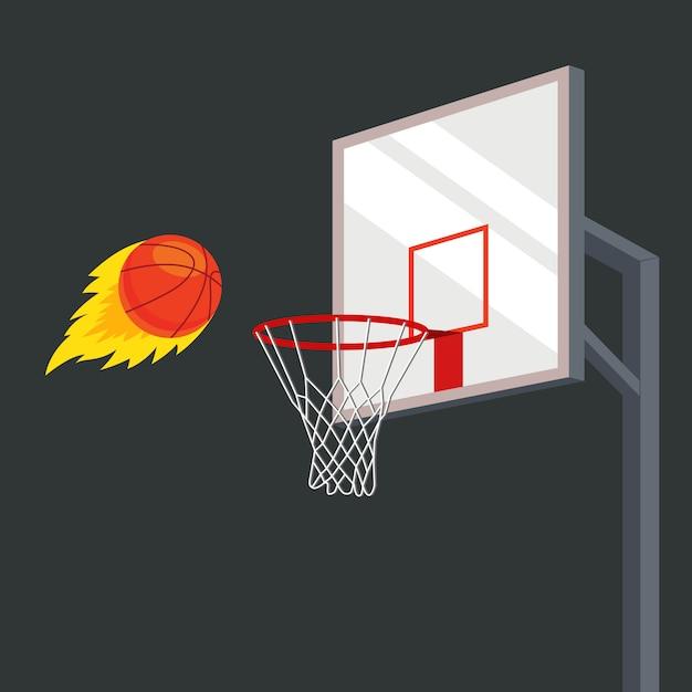 Мяч с большой силой летит в баскетбольную корзину. плоская векторная иллюстрация Premium векторы