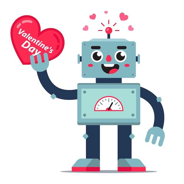 かわいいロボットは彼の手で心を保持します。バレンタインデーのカード。フラットなキャラクター。 Premiumベクター