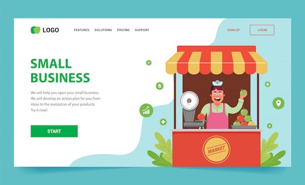 Целевая страница, как открыть свой малый бизнес. ларек с фруктами и продавец внутри. Premium векторы