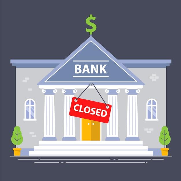 経済危機のため、銀行の建物は閉鎖されました。赤いプレート。フラットの図。 Premiumベクター