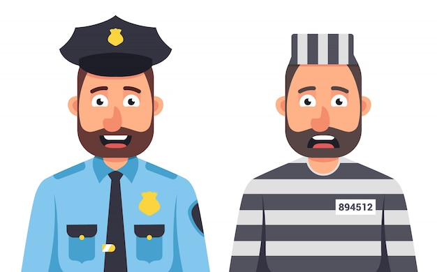 白い背景の上の刑務所ストライプフォームの囚人。刑務官。帽子をかぶった警官。文字ベクトルイラスト。 Premiumベクター