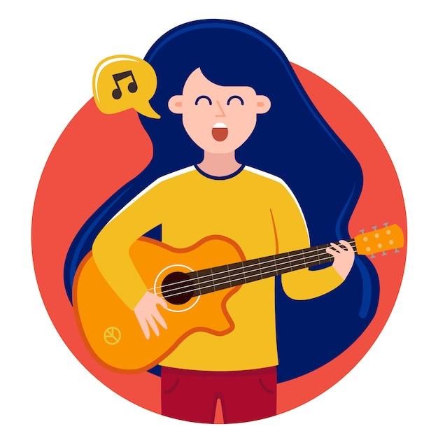 バブルの少女は歌を歌い、ギターを弾きます。かわいいキャラクター Premiumベクター