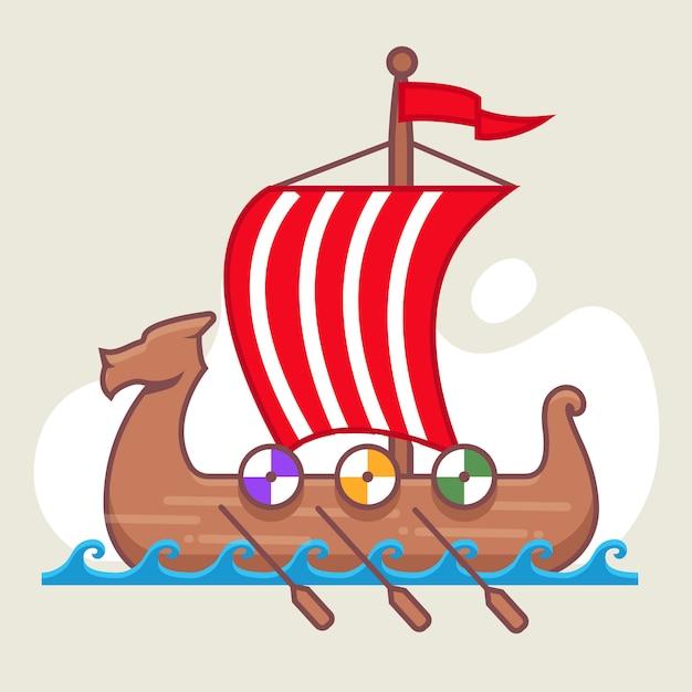 海でセーリングバイキング船。完全な帆。海の戦い。木製ボート。 Premiumベクター