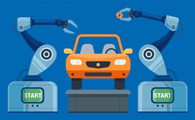 ロボットの手がコンベア車に集まります。ベクトル図 Premiumベクター