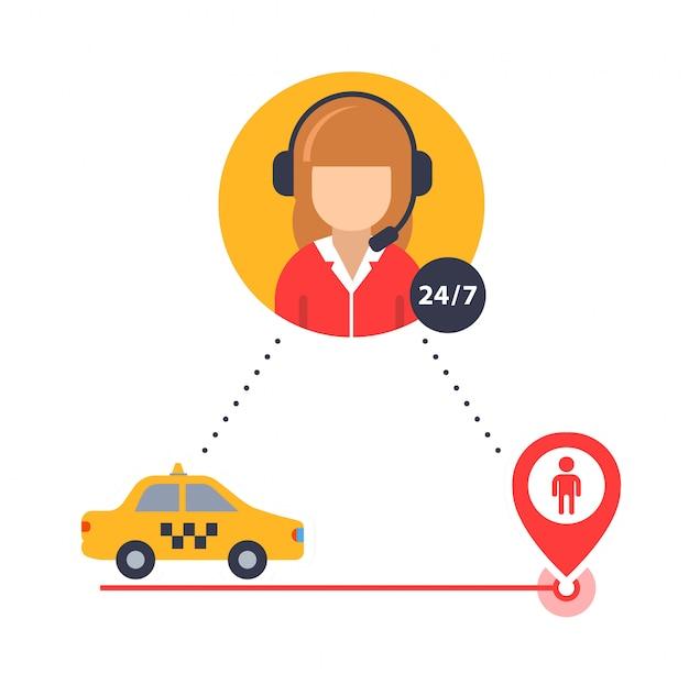 Оператор такси помогает найти клиента таксиста. Premium векторы