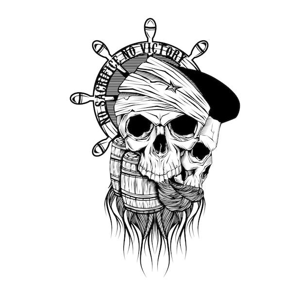 海賊の頭蓋骨の図面 Premiumベクター
