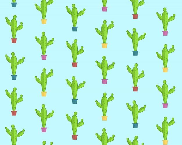 Милый мультфильм шаблон с красочными кактусами Premium векторы