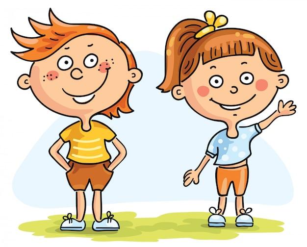 子供、男の子と女の子 Premiumベクター