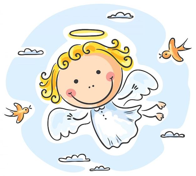 Милый ангел, летящий с птицами Premium векторы