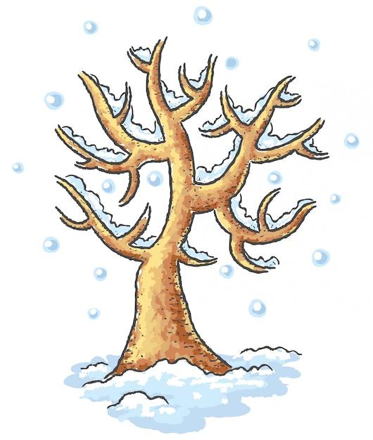 冬の木の描画 Premiumベクター