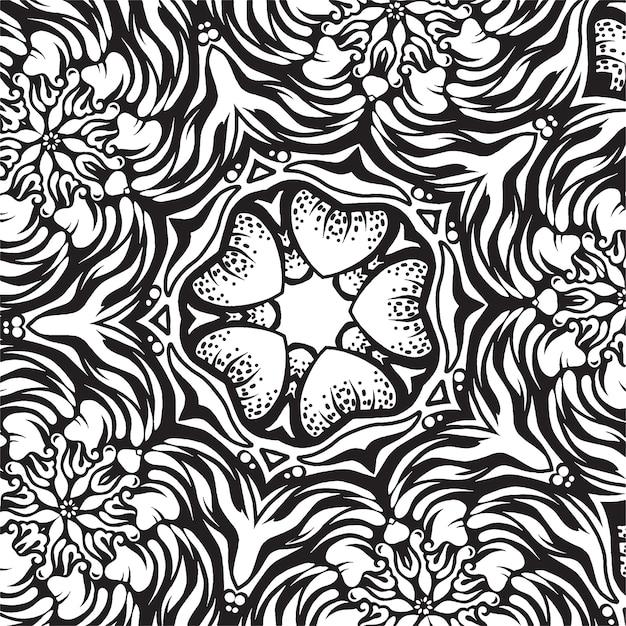 複雑な飾り、黒と白の図面 Premiumベクター