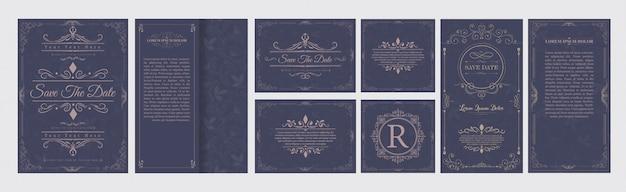 Набор свадебных расцветок украшений Premium векторы