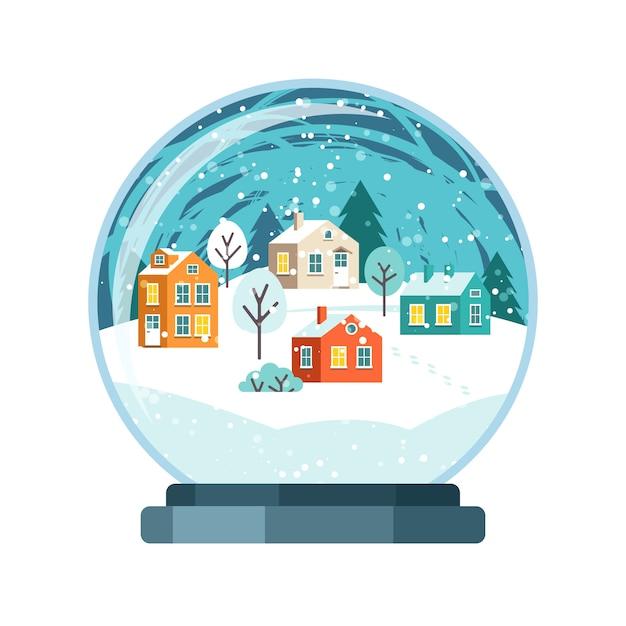 Рождественский снежный шар с домиками Premium векторы