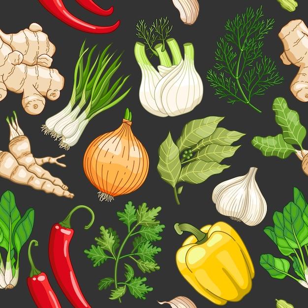 暗闇の中でハーブと野菜のパターン Premiumベクター
