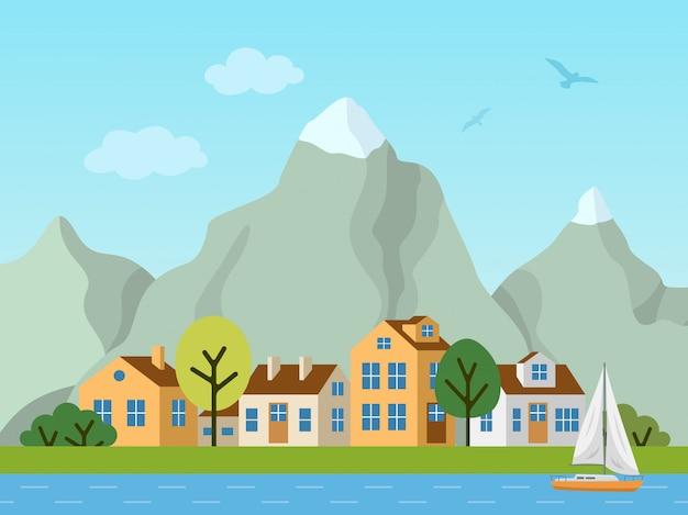 都市都市のベクトルの風景、コテージ、山 Premiumベクター