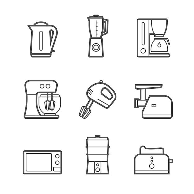 キッチン家電ベクトル線スタイルアイコンセット Premiumベクター