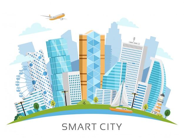 Умный город вектор с фоном небоскребов Premium векторы