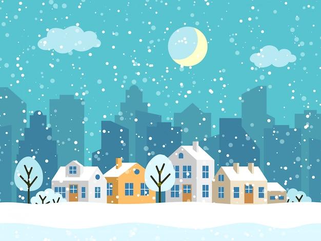 Рождественский зимний пейзаж с домиками Premium векторы