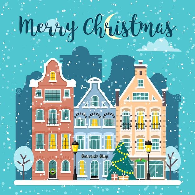 Зимний рождественский городской уличный векторный пейзаж Premium векторы