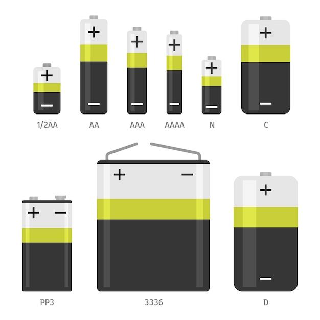 Установленные значки различных размеров щелочной батареи Premium векторы