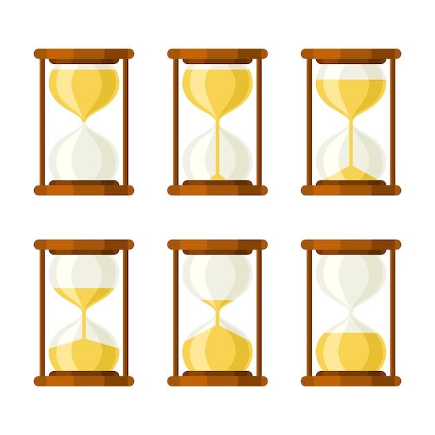 Установить песочные часы ретро векторные иконки Premium векторы