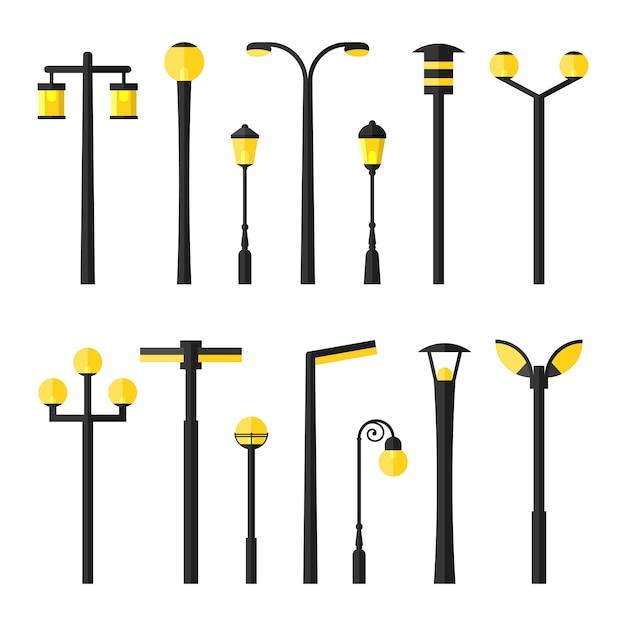 Комплект плоских городских дорог, уличных и парковых светильников Premium векторы