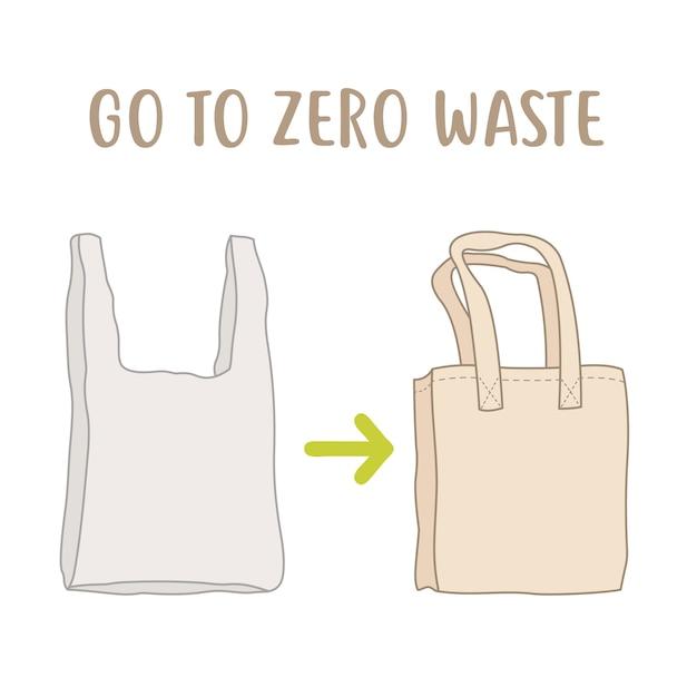 Правила нулевых отходов. одноразовая упаковка против многоразовой хлопковой сумки Premium векторы