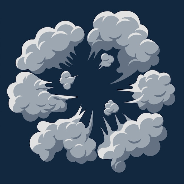 煙の爆発。ダストパフ漫画フレームベクトル Premiumベクター