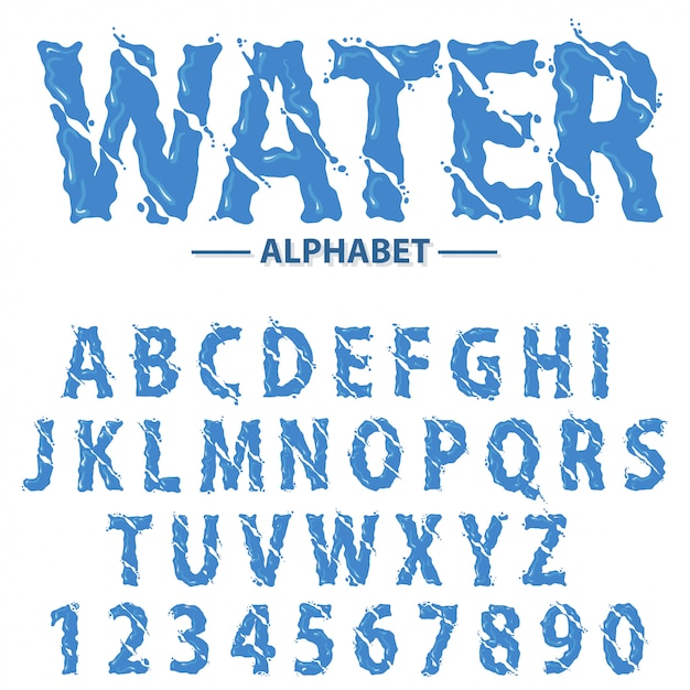 水滴は、アルファベット、モダンな未来的なスプラッシュの見出し文字と数字、抽象的な液体フォントタイポグラフィです。 Premiumベクター