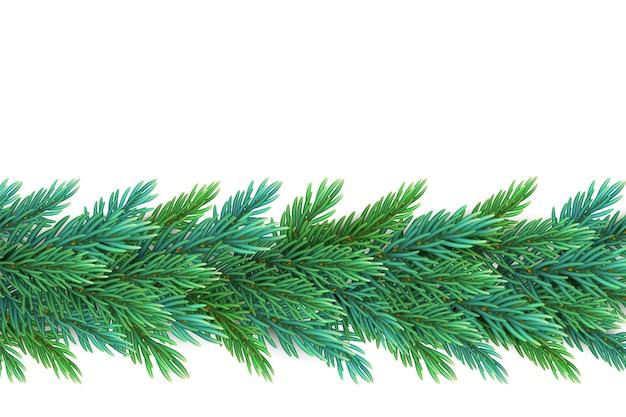 はがきを作成するための松の木の枝で作られた、現実的で詳細な新年の花輪 Premiumベクター