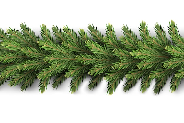 現実的で詳細な新年のガーランドは、松の木の枝を作り、ポストカード、サイトのバナーを作成しました現実的なクリスマス装飾要素。 Premiumベクター
