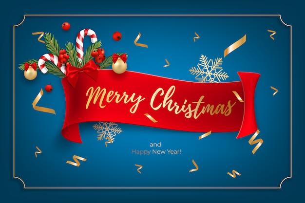 Праздничный фон для поздравления с рождеством и новым годом с реалистичными новогодними шарами, леденцами, красными ягодами Premium векторы