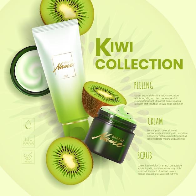 化粧品の広告デザイン。保湿クリーム、ジェル、スクラブ、キウイエキス入りボディローション。 Premiumベクター