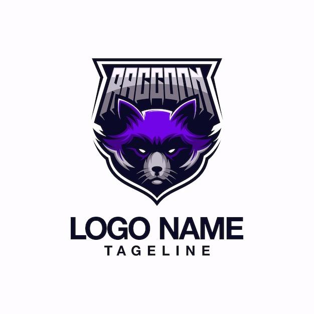 Енот дизайн логотипа Premium векторы