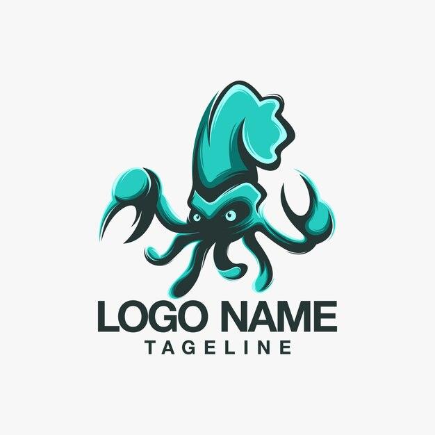 イカのロゴデザイン Premiumベクター
