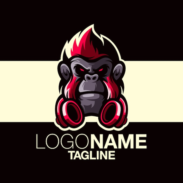 猿のロゴデザイン Premiumベクター