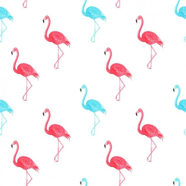 水彩フラミンゴパターン 無料ベクター