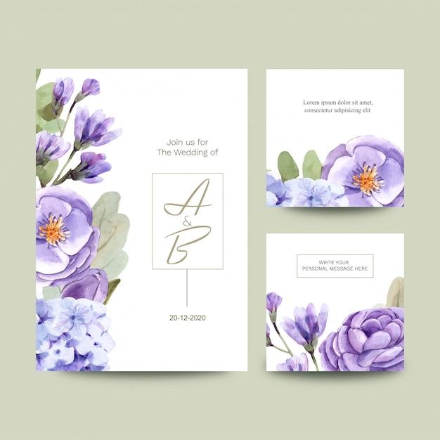 花と結婚式のカードのセット Premiumベクター
