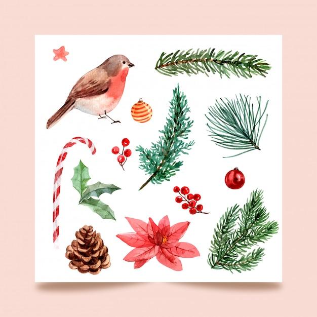 Рождество, изолировать акварели для поздравительной открытки, открытки, плаката Premium векторы