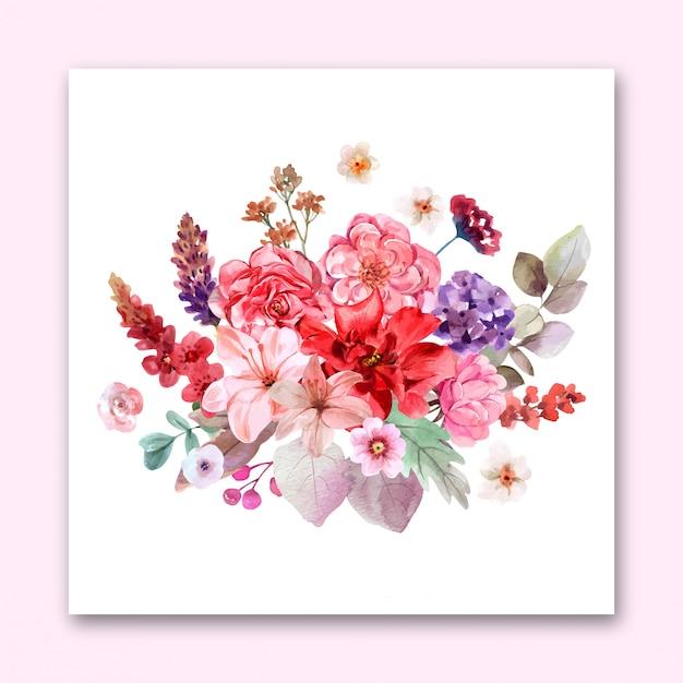 花のデザインの結婚式の招待状の花束。プレミアムベクトル Premiumベクター