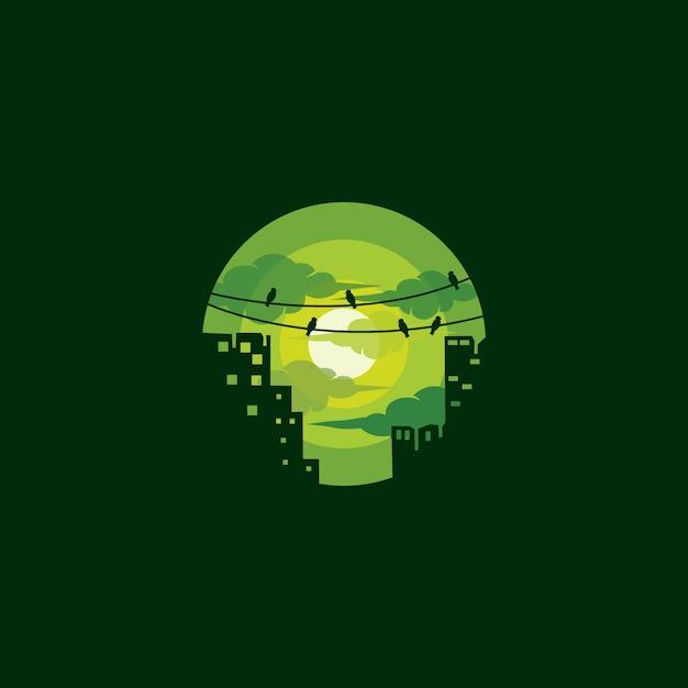 Зеленый логотип города Premium векторы