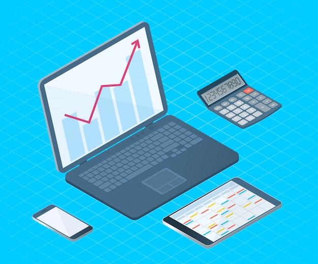 Иллюстрация вектора плоского равновеликая настольного электронного оборудования офиса: компьтер-книжка, сотовый телефон, пк таблетки, математический калькулятор. Premium векторы