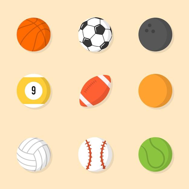 Коллекция спортивных мячей Бесплатные векторы
