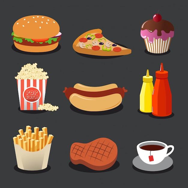Набор красивых цветных плоских иконок с едой. Premium векторы