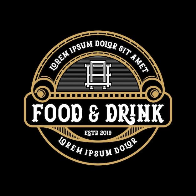 製品およびレストランの飲食ロゴデザイン Premiumベクター