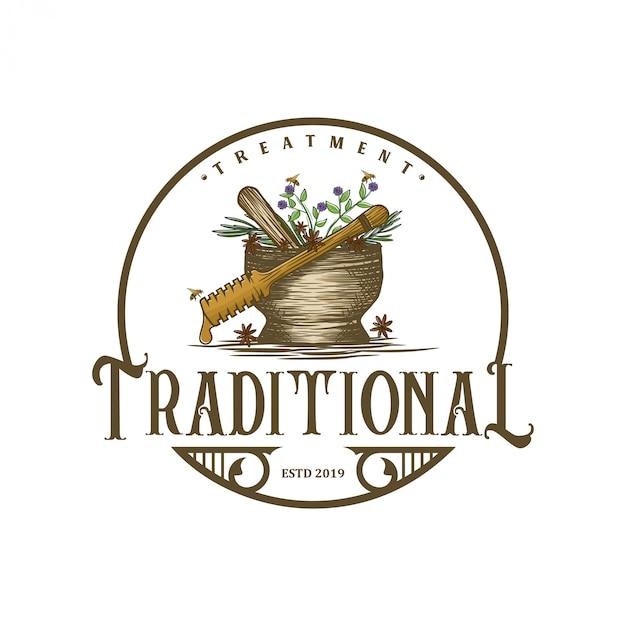 Старинный логотип для традиционных лекарств Premium векторы