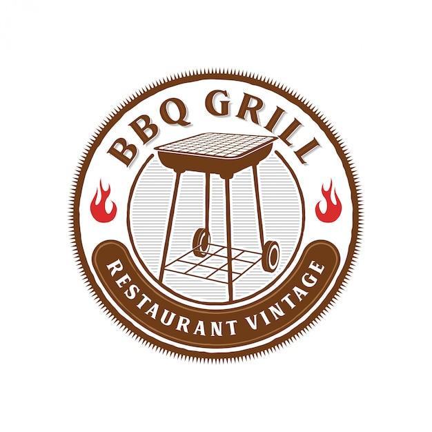 レストランのバーベキューのロゴ Premiumベクター